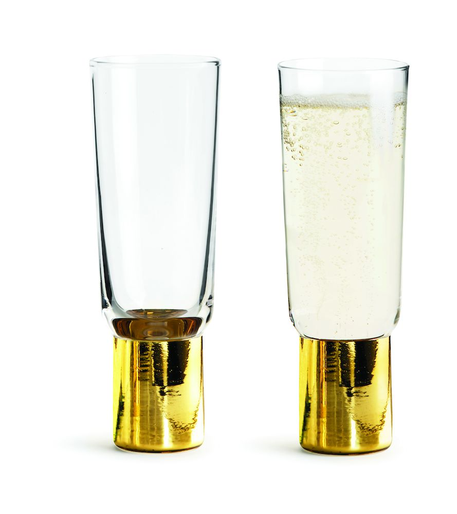 Club champagneglas guld, 2-pack