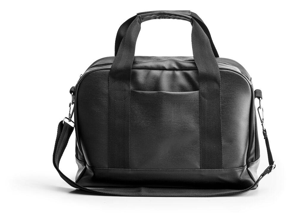 Skuldertaske/computertaske i kunstlæder, sort