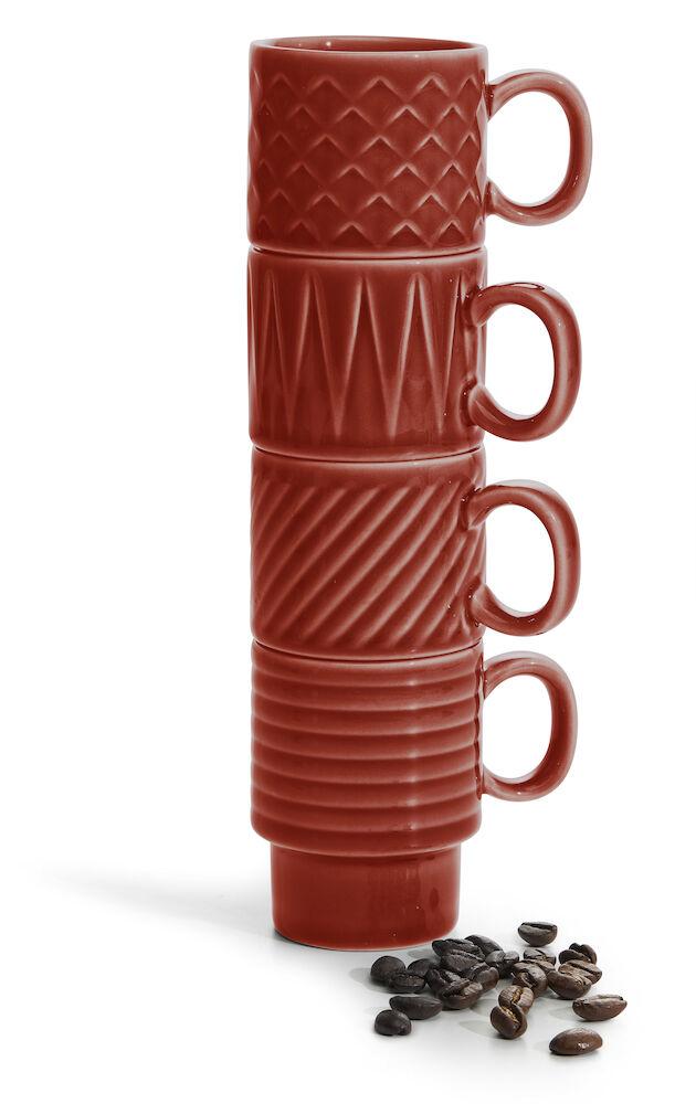 Coffee & More Espressomugg 4-pack, röd